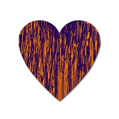 Blue And Orange Pattern Heart Magnet by Valentinaart