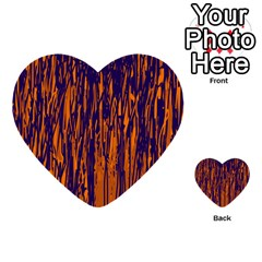 Blue And Orange Pattern Multi-purpose Cards (heart)