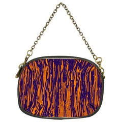 Blue And Orange Pattern Chain Purses (one Side)  by Valentinaart