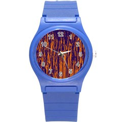 Blue And Orange Pattern Round Plastic Sport Watch (s) by Valentinaart