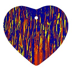 Orange, Blue And Yellow Pattern Ornament (heart)  by Valentinaart