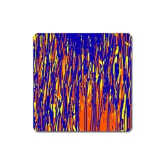 Orange, Blue And Yellow Pattern Square Magnet by Valentinaart