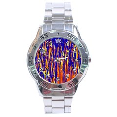 Orange, Blue And Yellow Pattern Stainless Steel Analogue Watch by Valentinaart