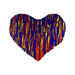 Orange, Blue And Yellow Pattern Standard 16  Premium Heart Shape Cushions by Valentinaart