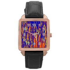 Orange, Blue And Yellow Pattern Rose Gold Leather Watch  by Valentinaart