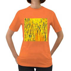 Yellow Pattern Women s Dark T Shirt by Valentinaart