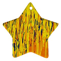 Yellow Pattern Star Ornament (two Sides)  by Valentinaart