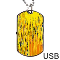 Yellow Pattern Dog Tag Usb Flash (one Side) by Valentinaart