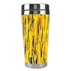 Yellow Pattern Stainless Steel Travel Tumblers by Valentinaart