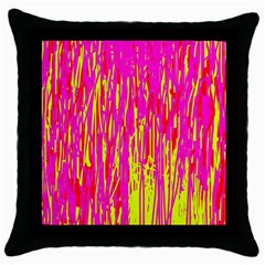 Pink And Yellow Pattern Throw Pillow Case (black) by Valentinaart