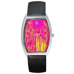 Pink And Yellow Pattern Barrel Style Metal Watch by Valentinaart