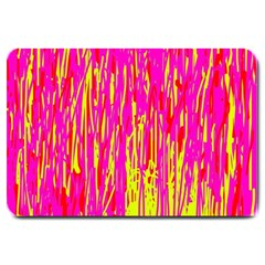 Pink And Yellow Pattern Large Doormat  by Valentinaart