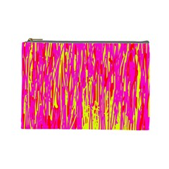 Pink And Yellow Pattern Cosmetic Bag (large)  by Valentinaart