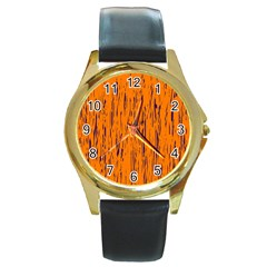 Orange Pattern Round Gold Metal Watch by Valentinaart