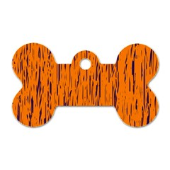 Orange Pattern Dog Tag Bone (one Side) by Valentinaart