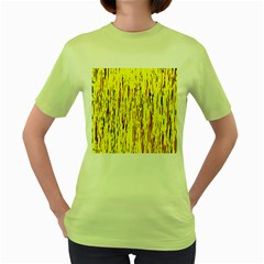 Yellow Pattern Women s Green T Shirt by Valentinaart