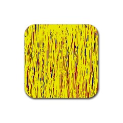 Yellow Pattern Rubber Coaster (square)  by Valentinaart
