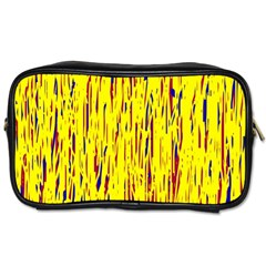 Yellow Pattern Toiletries Bags 2 Side by Valentinaart