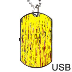 Yellow Pattern Dog Tag Usb Flash (two Sides)  by Valentinaart