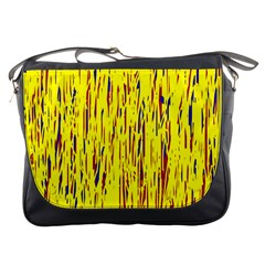 Yellow Pattern Messenger Bags by Valentinaart