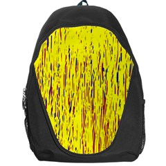 Yellow Pattern Backpack Bag by Valentinaart