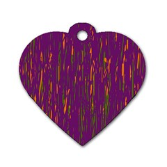Purple Pattern Dog Tag Heart (one Side)