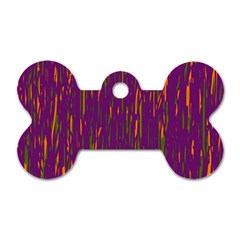 Purple Pattern Dog Tag Bone (one Side) by Valentinaart