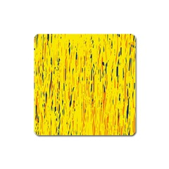Yellow Pattern Square Magnet by Valentinaart