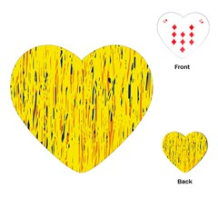 Yellow Pattern Playing Cards (heart)  by Valentinaart