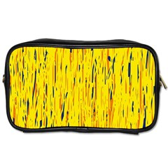 Yellow Pattern Toiletries Bags by Valentinaart