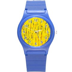 Yellow Pattern Round Plastic Sport Watch (s) by Valentinaart