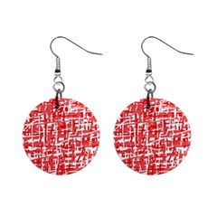 Red Decorative Pattern Mini Button Earrings by Valentinaart