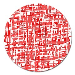 Red Decorative Pattern Magnet 5  (round) by Valentinaart