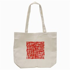 Red Decorative Pattern Tote Bag (cream) by Valentinaart