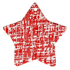 Red Decorative Pattern Star Ornament (two Sides)  by Valentinaart