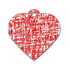 Red Decorative Pattern Dog Tag Heart (two Sides) by Valentinaart