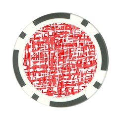 Red Decorative Pattern Poker Chip Card Guards (10 Pack)  by Valentinaart