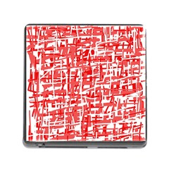 Red Decorative Pattern Memory Card Reader (square) by Valentinaart