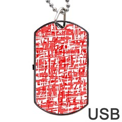 Red Decorative Pattern Dog Tag Usb Flash (two Sides)  by Valentinaart