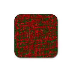 Green And Red Pattern Rubber Square Coaster (4 Pack)  by Valentinaart