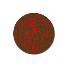 Green And Red Pattern Magnet 3  (round) by Valentinaart