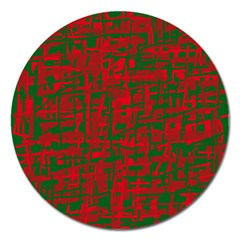 Green And Red Pattern Magnet 5  (round) by Valentinaart
