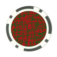 Green And Red Pattern Poker Chip Card Guards by Valentinaart