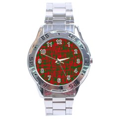 Green And Red Pattern Stainless Steel Analogue Watch by Valentinaart