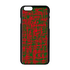 Green And Red Pattern Apple Iphone 6/6s Black Enamel Case by Valentinaart