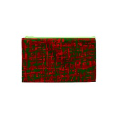 Green And Red Pattern Cosmetic Bag (xs) by Valentinaart