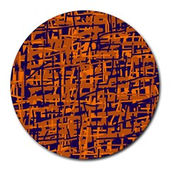 Blue And Orange Decorative Pattern Round Mousepads by Valentinaart