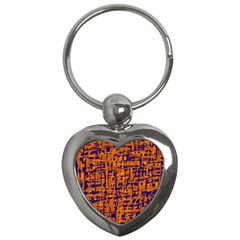 Blue And Orange Decorative Pattern Key Chains (heart)  by Valentinaart