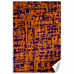 Blue And Orange Decorative Pattern Canvas 24  X 36  by Valentinaart