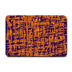Blue And Orange Decorative Pattern Small Doormat  by Valentinaart